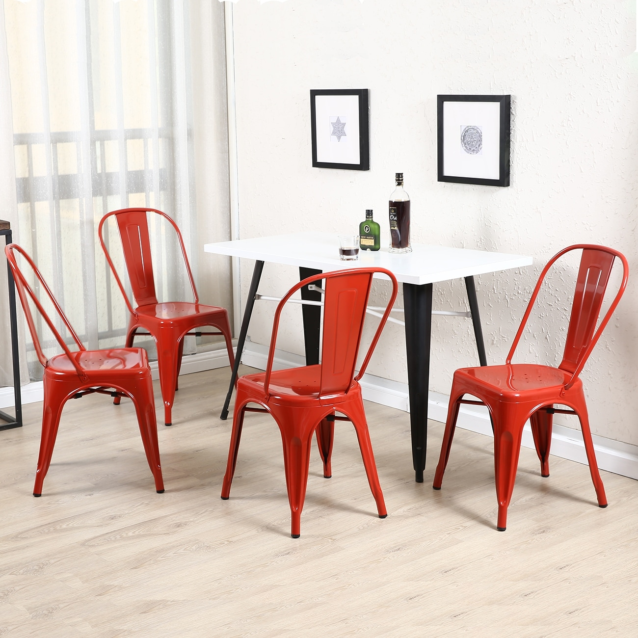 Shop BELLEZE Set Of (4PC) Industrial Restaurant Cafe High Backrest Vintage  Style Dining Chair Stackable Chairs, Red   Free Shipping Today    Overstock.com   ...