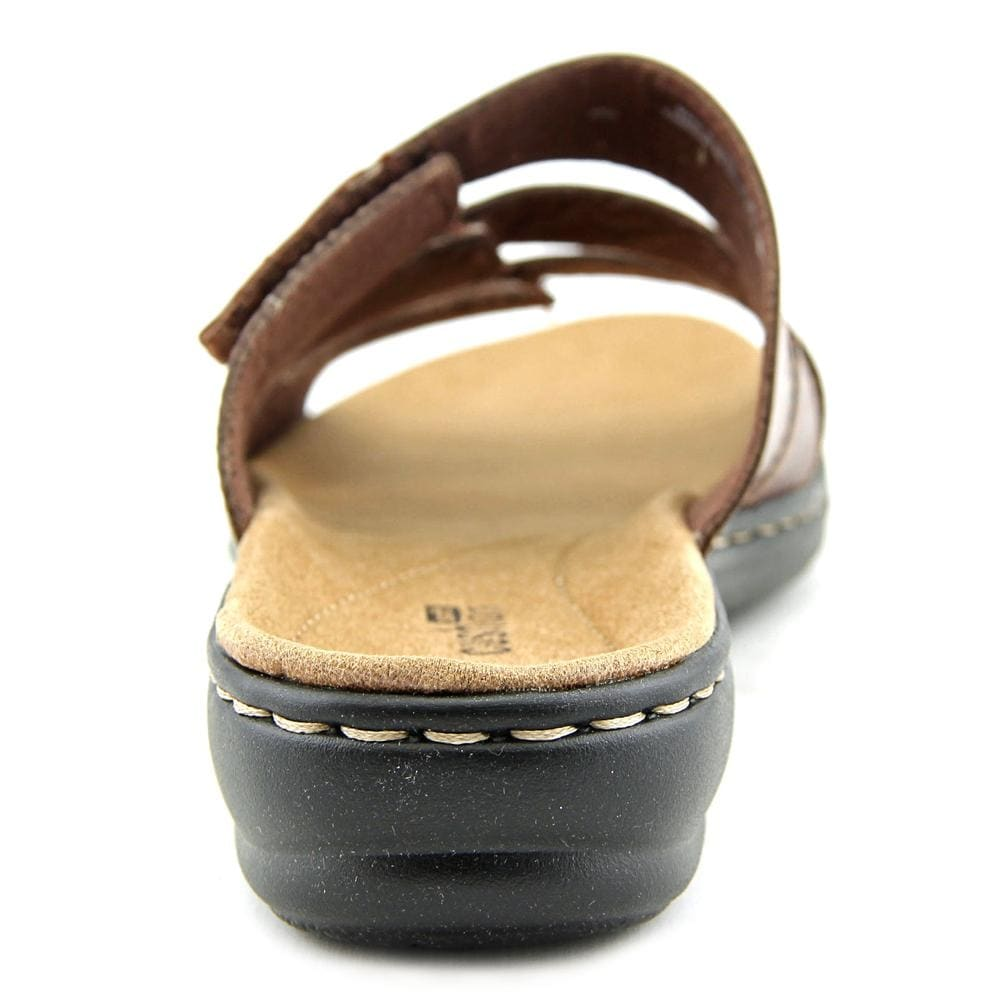 fb236895e944 Shop Clarks Narrative Leisa Broach Women Open Toe Leather Brown Slides  Sandal - Free Shipping Today - Overstock - 14495365