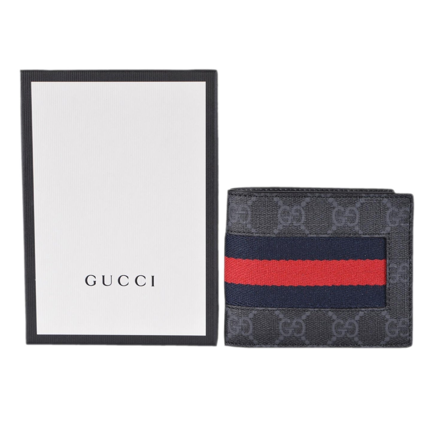 4158478aac6d12 Shop Gucci Men's Black Grey GG Supreme Canvas Blue Red Web Bifold Wallet -  4.5 x 3.5 - Free Shipping Today - Overstock - 25435914