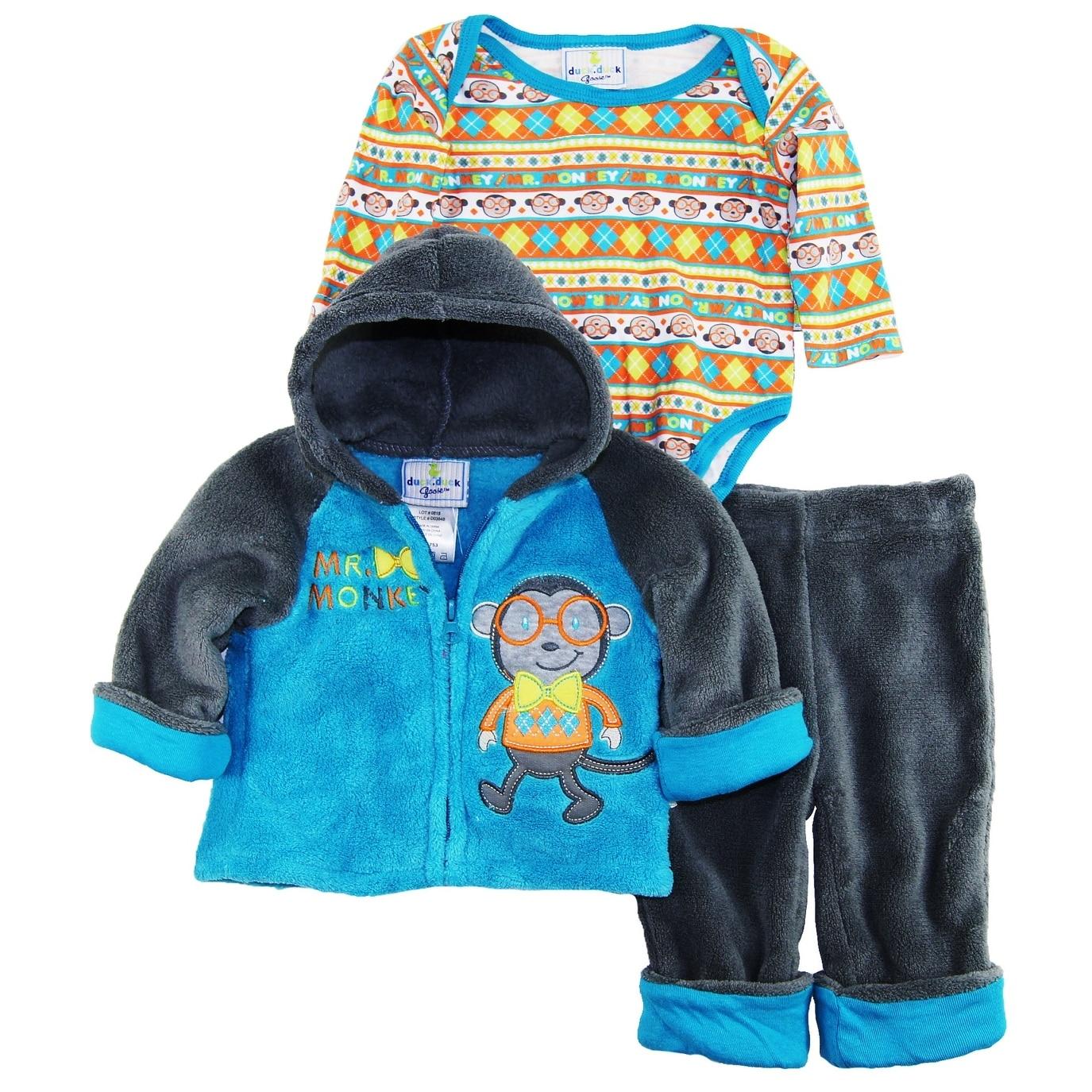 31da4103971e Duck Goose Newborn Boys Mommys Mr. Monkey Sherpa Jacket Bodysuit 3Pc ...