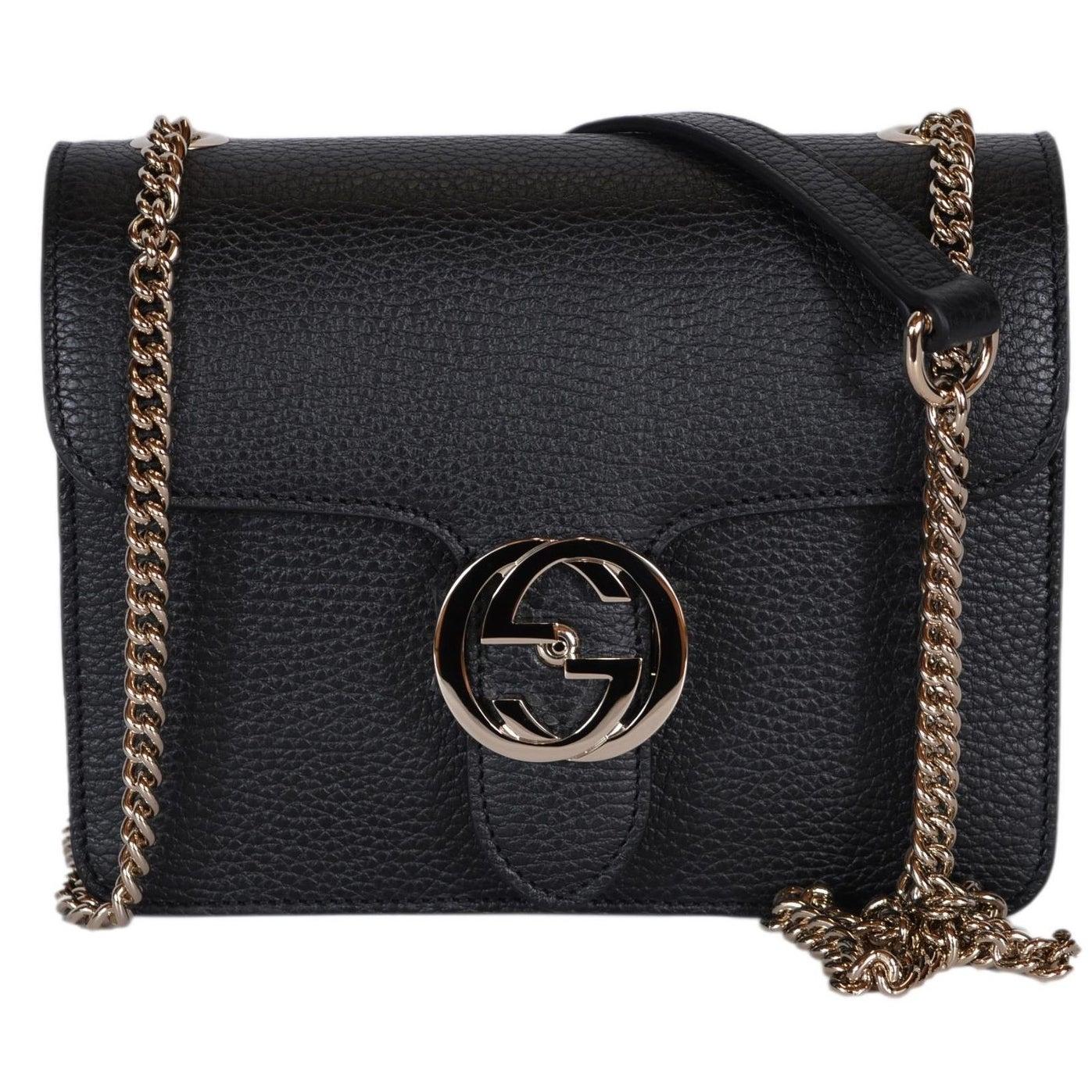 883d4b07d64c Gucci Women's Black Leather 510304 Interlocking GG Crossbody Purse Handbag  - 7.75
