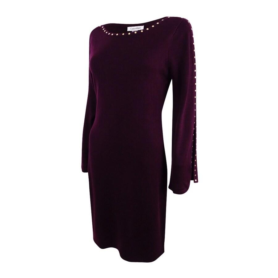 68cd74a6 Shop Calvin Klein Women's Studded Split-Sleeve Sweater Dress - Free  Shipping Today - Overstock - 22989923