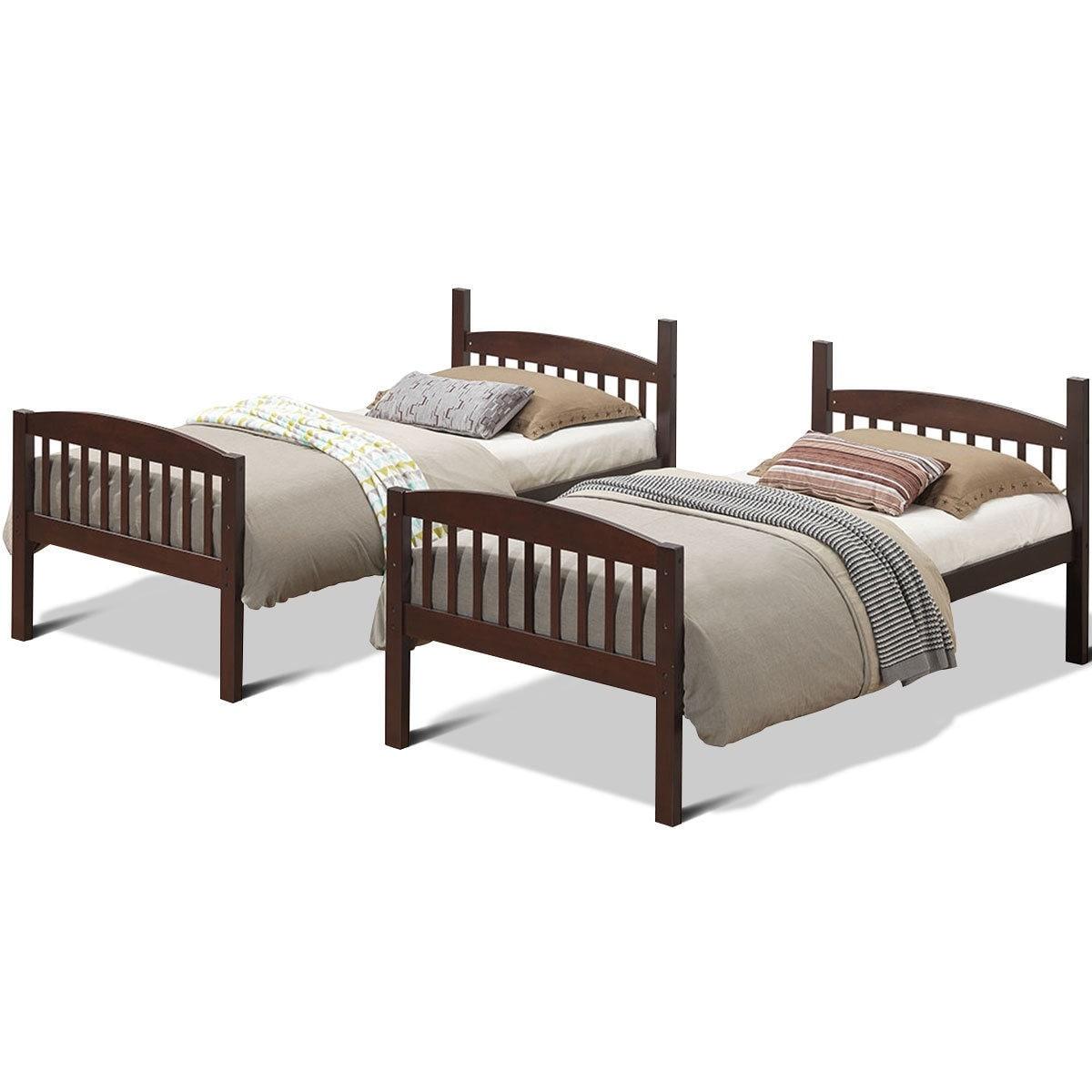 Shop Costway Wood Solid Hardwood Twin Bunk Beds Detachable Kids