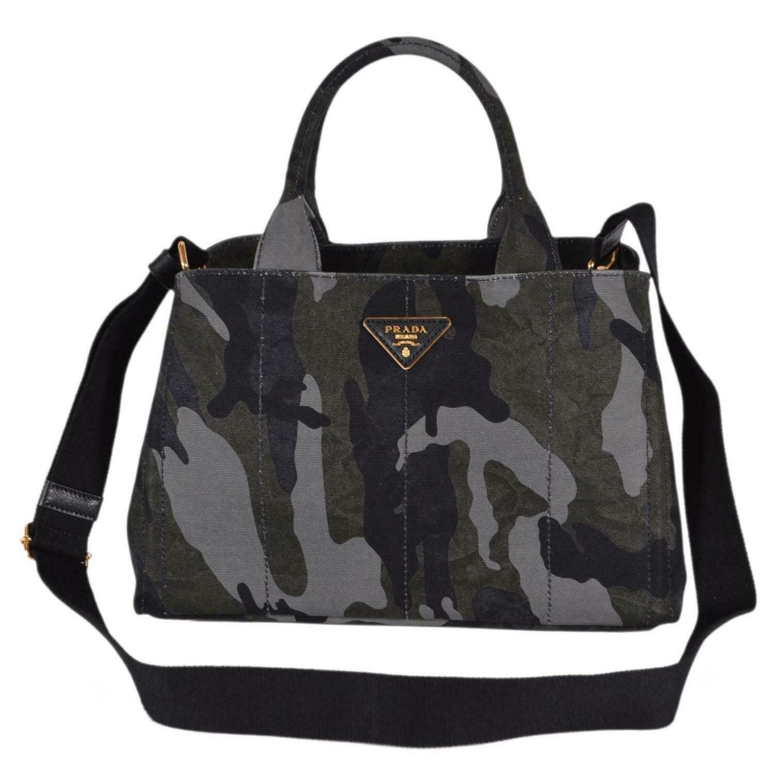 8773c4dc379ab6 Prada 1BG155 Canapa Stamp Camouflage Print Convertible Handbag Hobo Tote -  Multi