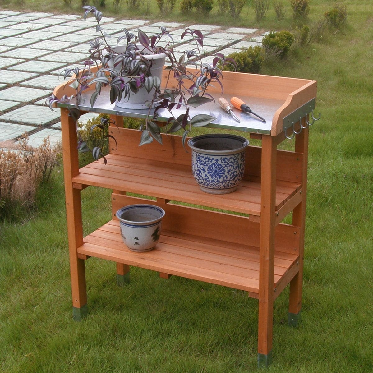 plant l garden outdoors dp christow flower amazon uk co greenhouse wooden potting staging bench work table