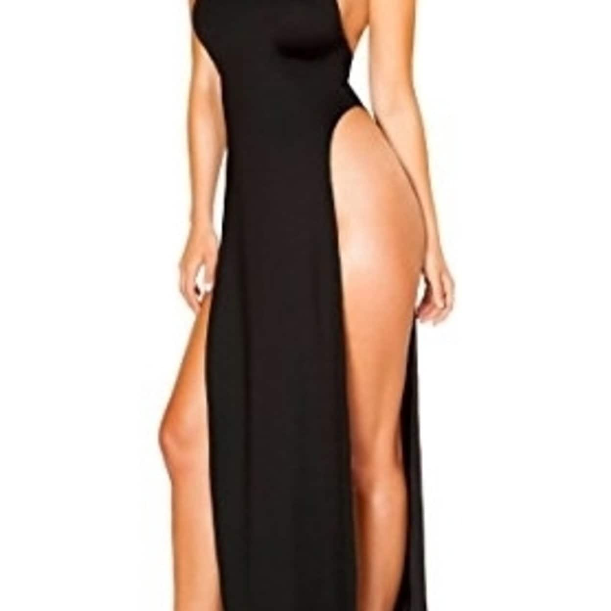 72cc0c300 Shop Roma Costume 3529-Blk-L Maxi Length Halter Neck Dress With High Slits  - Large - Free Shipping Today - Overstock - 27106532