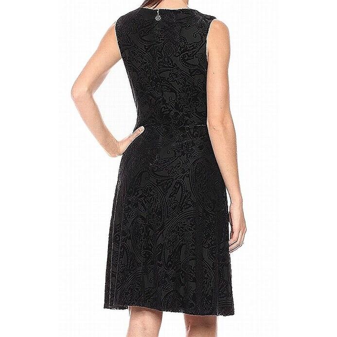 8db5678cbdb Shop Tommy Hilfiger Black Womens Size 8 Velvet V-Neck Fit   Flare Dress -  Free Shipping Today - Overstock - 27803729