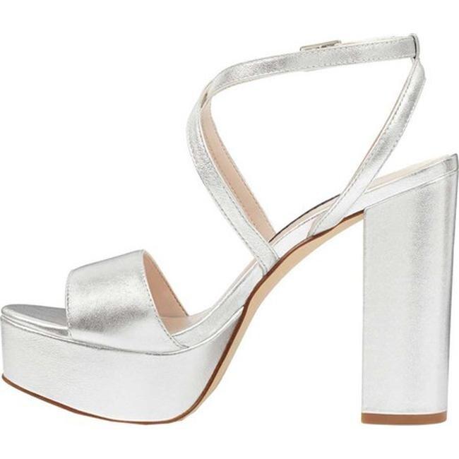 0e99b8597f6 Shop Nine West Women s Markando Block Heel Platform Sandal Silver Metallic  - Free Shipping Today - Overstock - 21727669