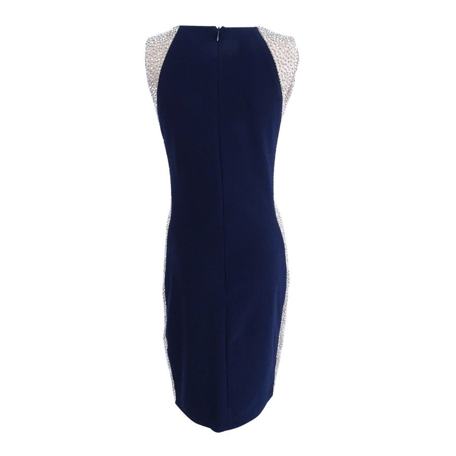 4a937fc4 Shop Xscape Women's Sleeveless Colorblocked Beaded Dress (4, Navy/Nude) -  Navy/Nude - 4 - Free Shipping Today - Overstock - 22990297