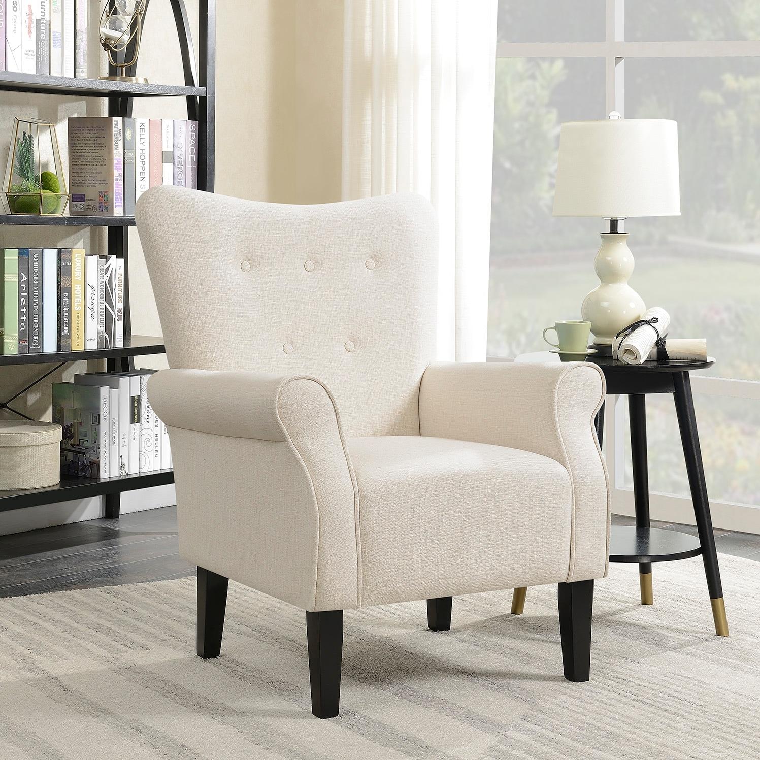 Belleze modern wingback accent chair armrest linen with high backrest beige