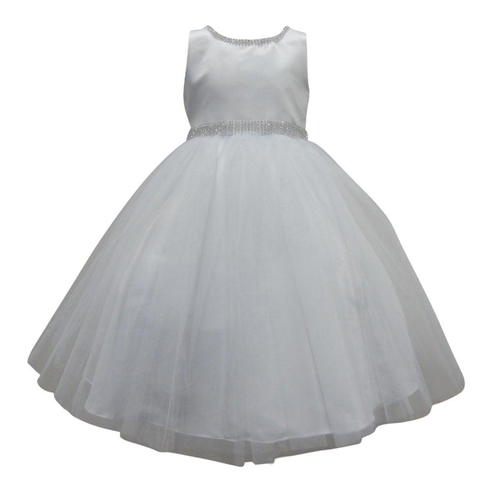 Shop Little Girls White Beaded Glitter Neckline Waist Satin Flower