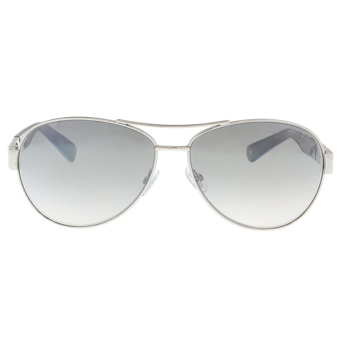 55570ca95c Shop Jimmy Choo BABA S 0RZS Palladium Grey Aviator Sunglasses - 59-13-135 -  Free Shipping Today - Overstock - 21158314
