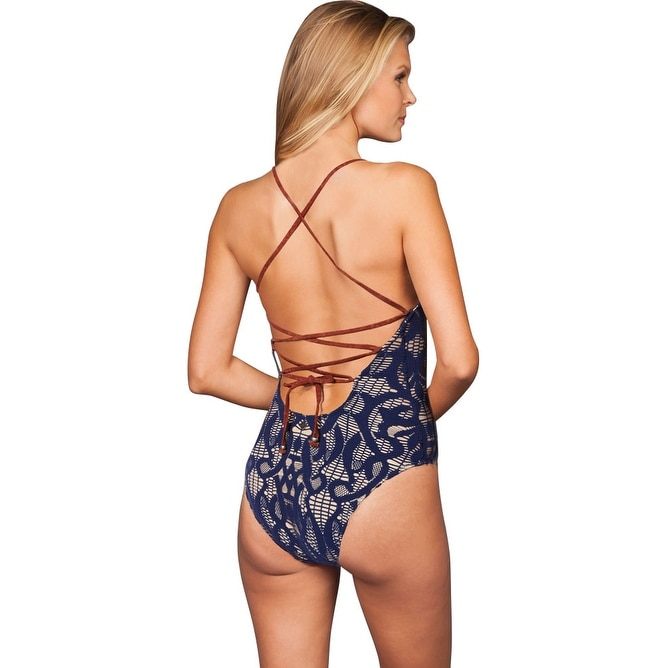 a31b6f81406 Shop Nanette Lepore Coachella Valley Indigo Crochet Lace Up Back One Piece  Swimsuit - Free Shipping Today - Overstock - 17761696