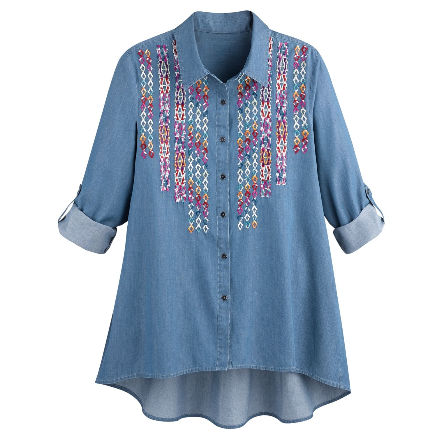Shop Womens Denim Tunic Top Button Front Hi Lo Embroidered Big