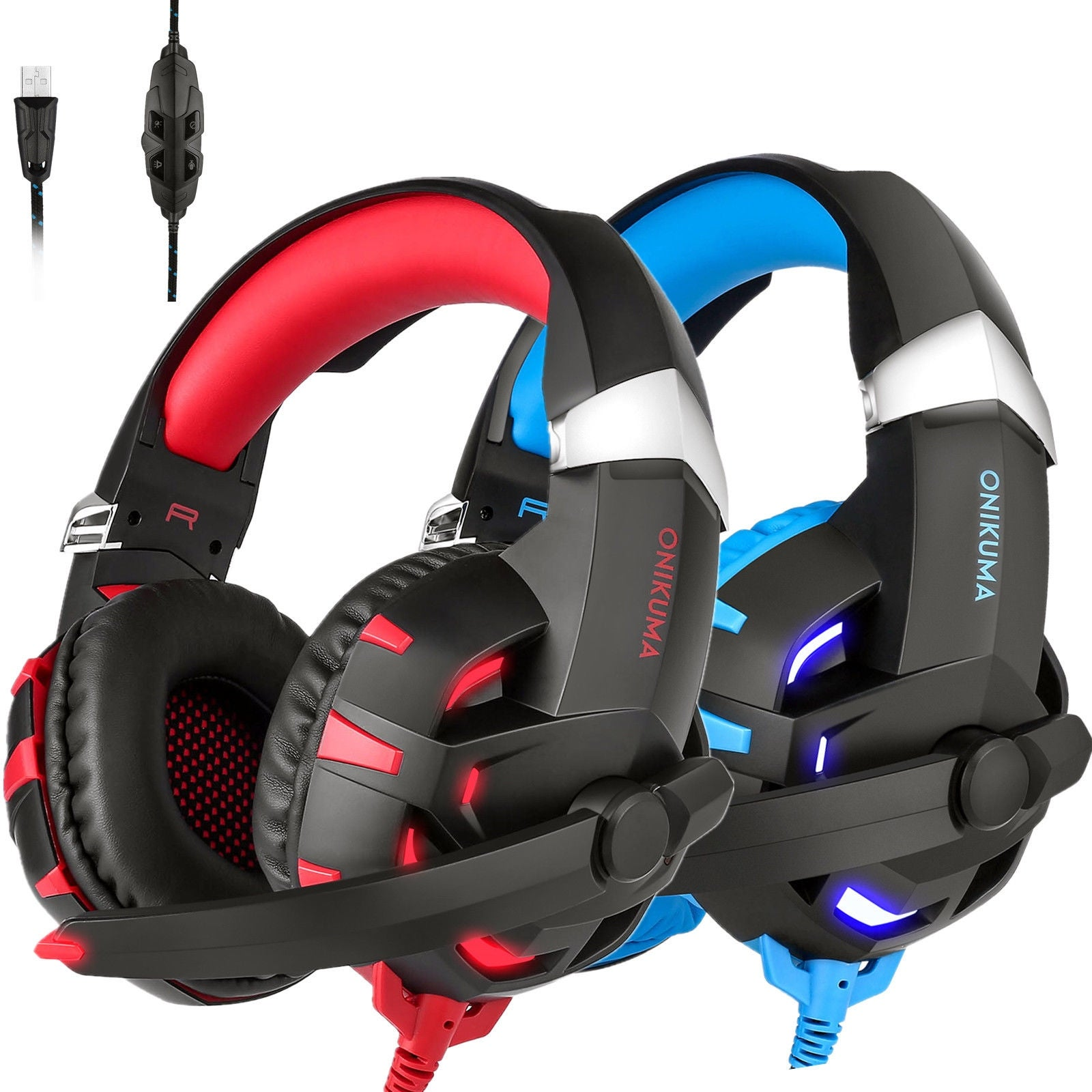 9be643d2c7b ONIKUMA K2 Gaming Headsets Stereo 7.1 Surround Sound USB w/Mic for PS4 PC