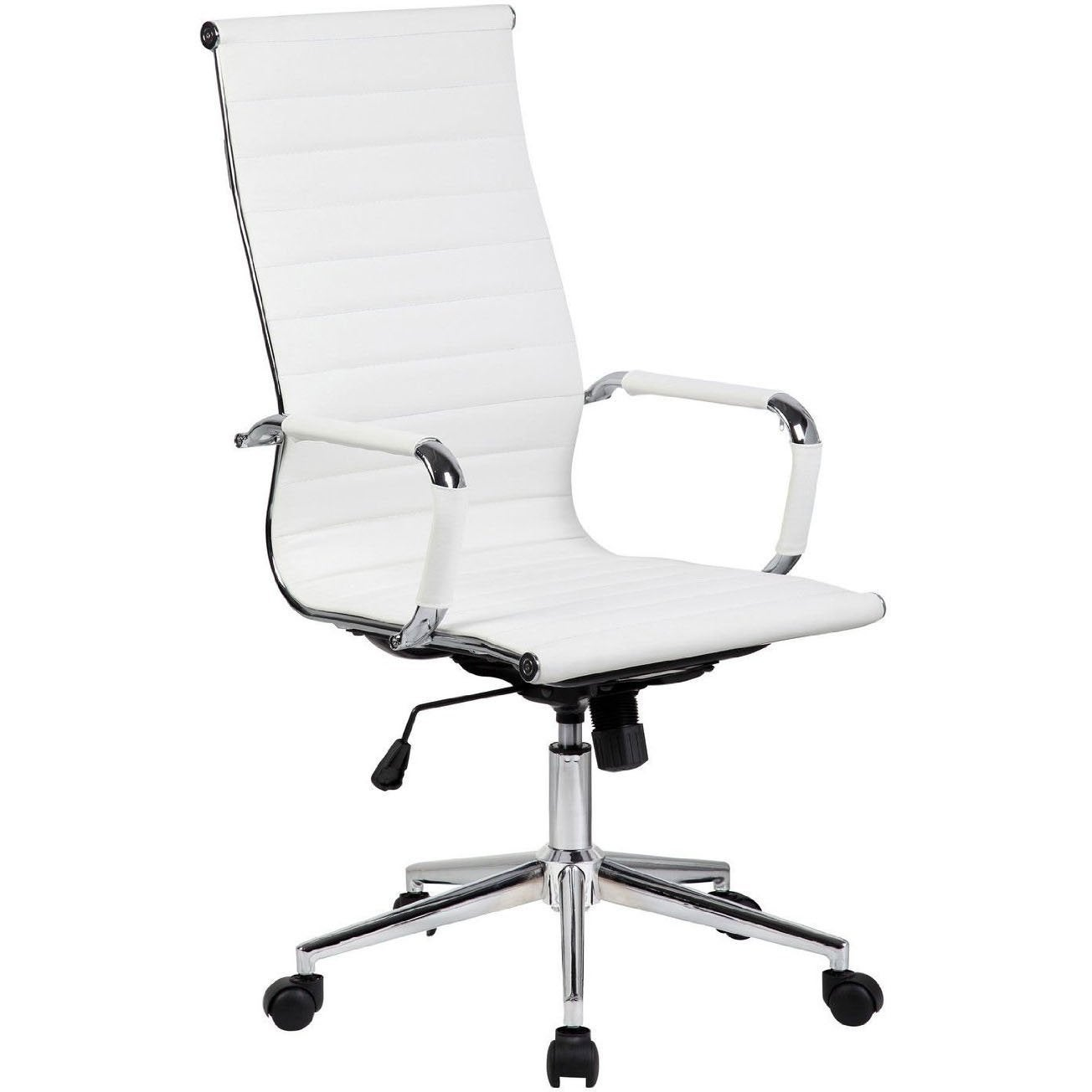 2xhome White Executive Ergonomic High Back Modern Office Chair Ribbed Pu Leather Swivel For Manager Conference Computer Desk On Free Shipping