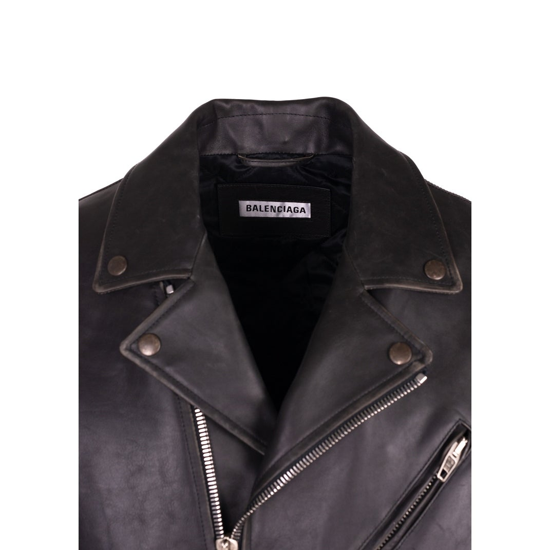 f03a4ea9437 Shop Balenciaga Men s Black Leather Painted Logo Biker Jacket Size 36 S  Retail 4900 - S - Free Shipping Today - Overstock - 25724843