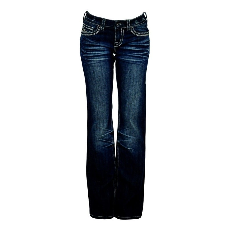 404dbd341bc Shop Cowgirl Tuff Western Denim Jeans Womens No Limits Whiskering Dk - Free  Shipping Today - Overstock - 15446433