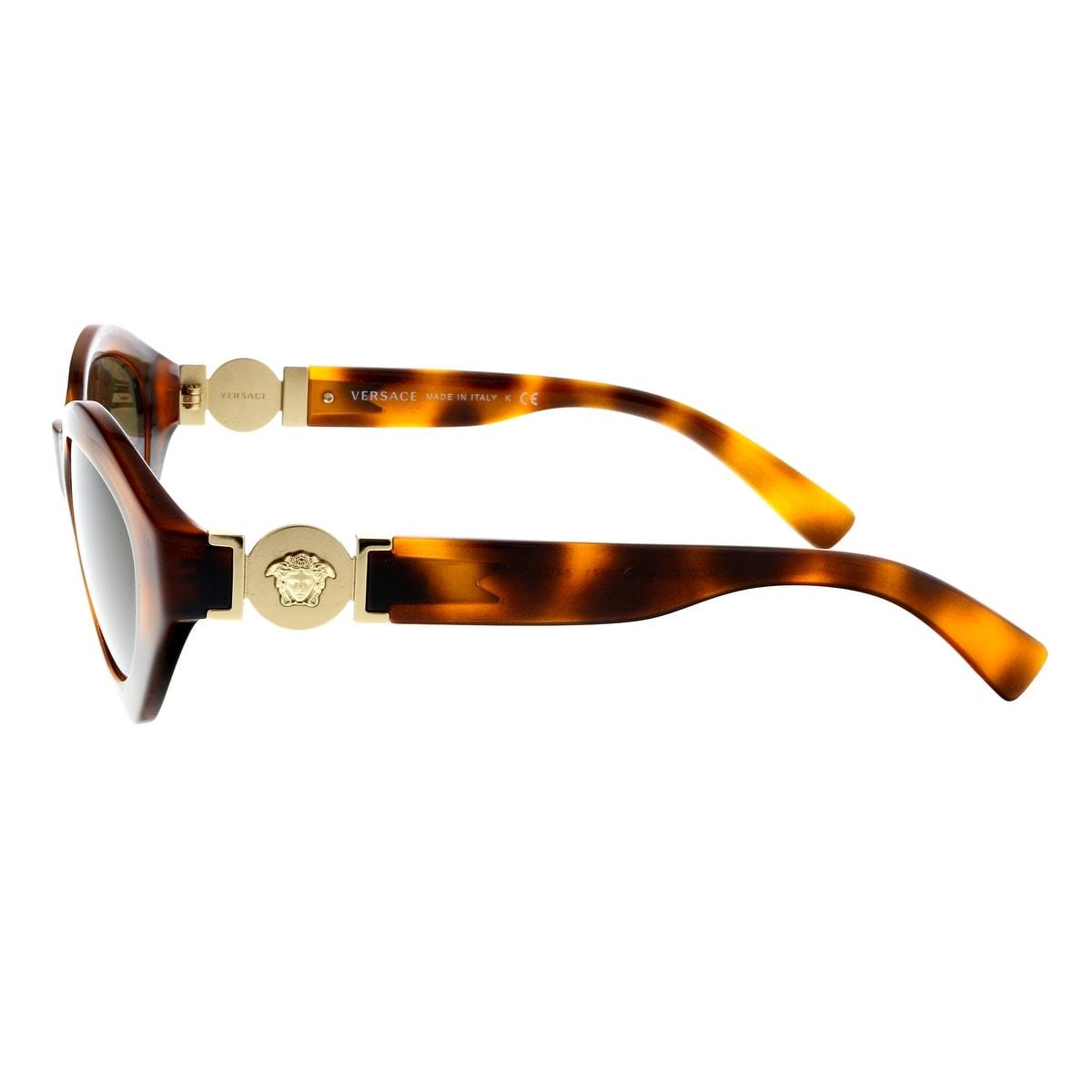 71412cc6db44 Shop Versace VE4334 511971 Havana Oval Sunglasses - 54-18-140 - Free  Shipping Today - Overstock - 28309409