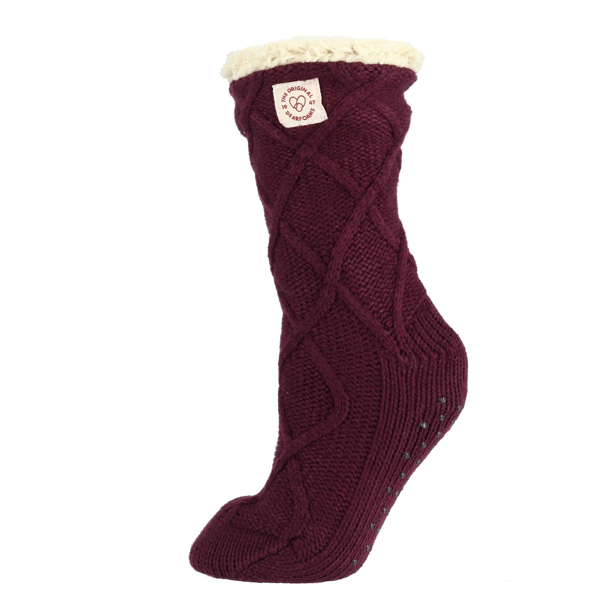 Shop Dearfoams Womens Lattice Cable Knit Slipper Socks Free