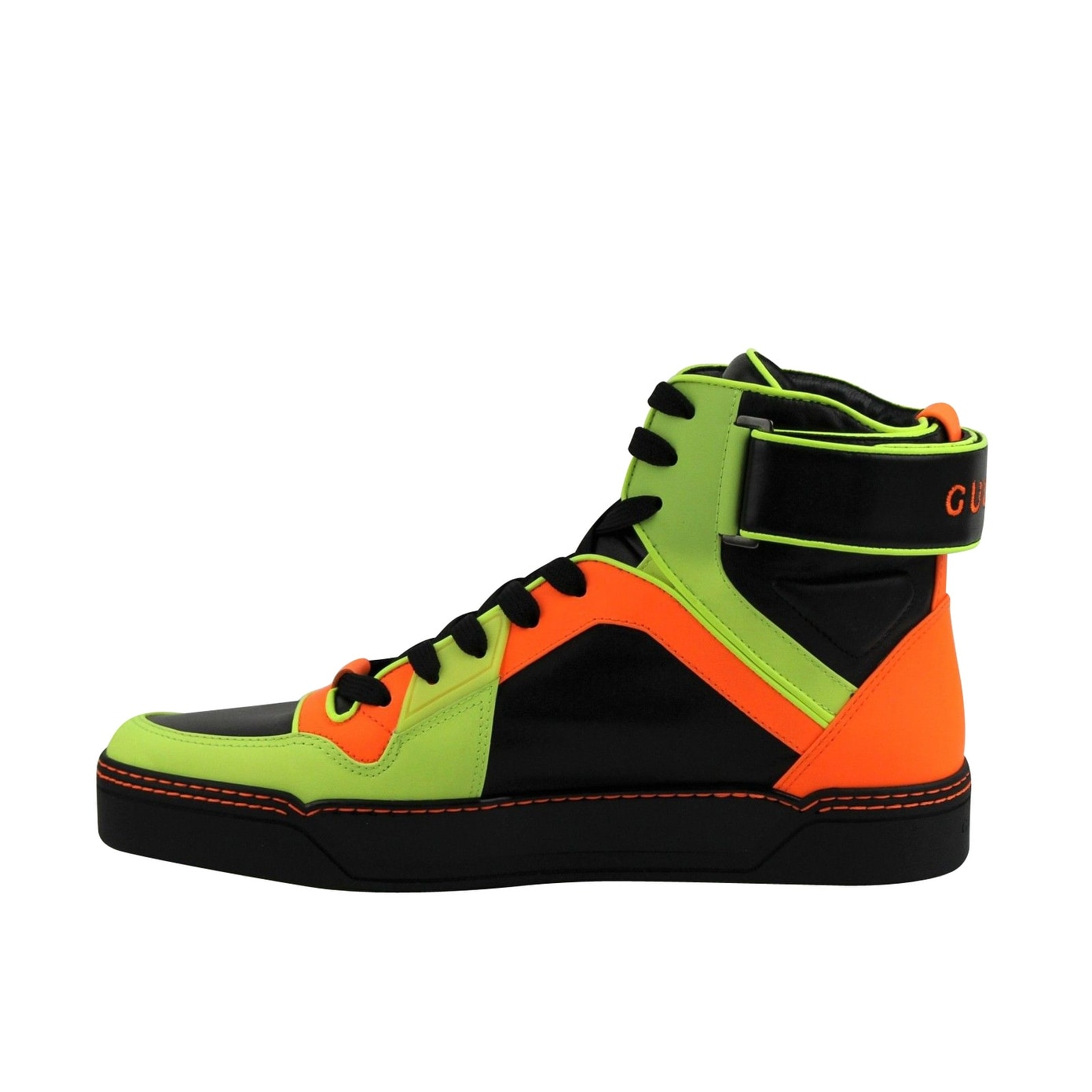 3385ce8e9 Shop Gucci High-Top Yellow / Green / Black Neon Leather Sneakers 386738  7170 - Free Shipping Today - Overstock - 28031628