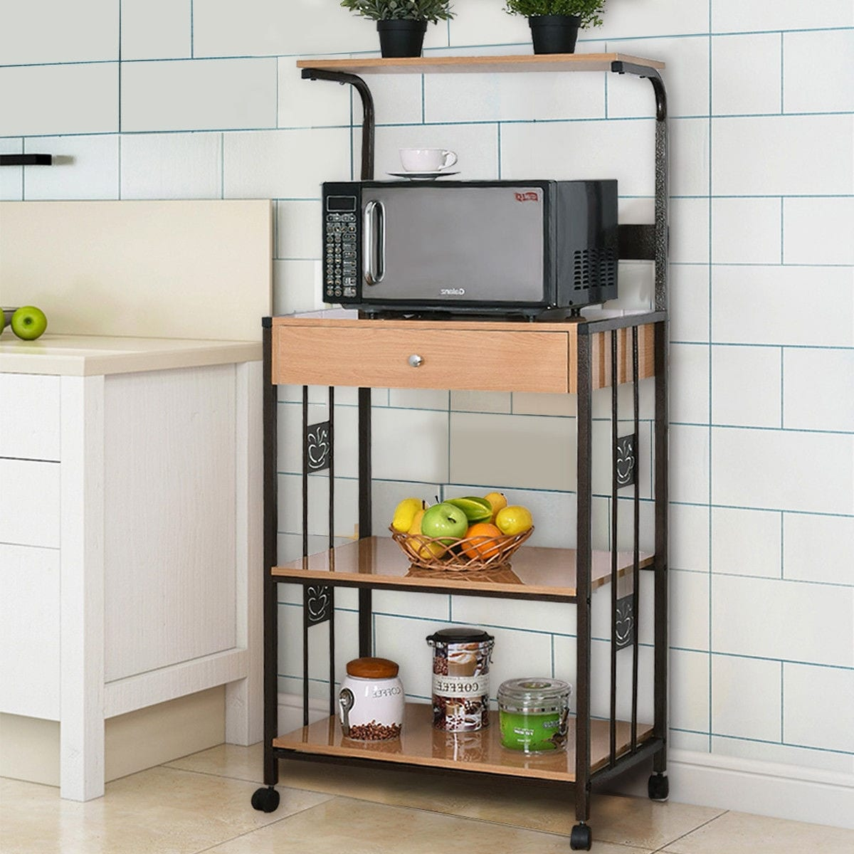 Shop Costway 59u0027u0027 Bakers Rack Microwave Stand Rolling Kitchen Storage Cart  W/Electric Outlet   Free Shipping Today   Overstock.com   16315083