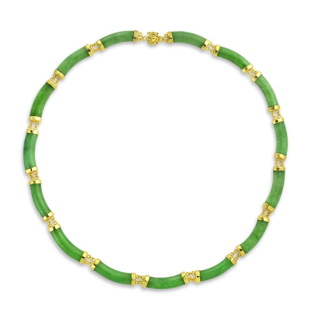 Shop Asian Style 62.5 CTW Natural Dyed Green Jade Collar Necklace For Women  14K Gold Plated 925 Silver Links - On Sale - Free Shipping Today -  Overstock - ...