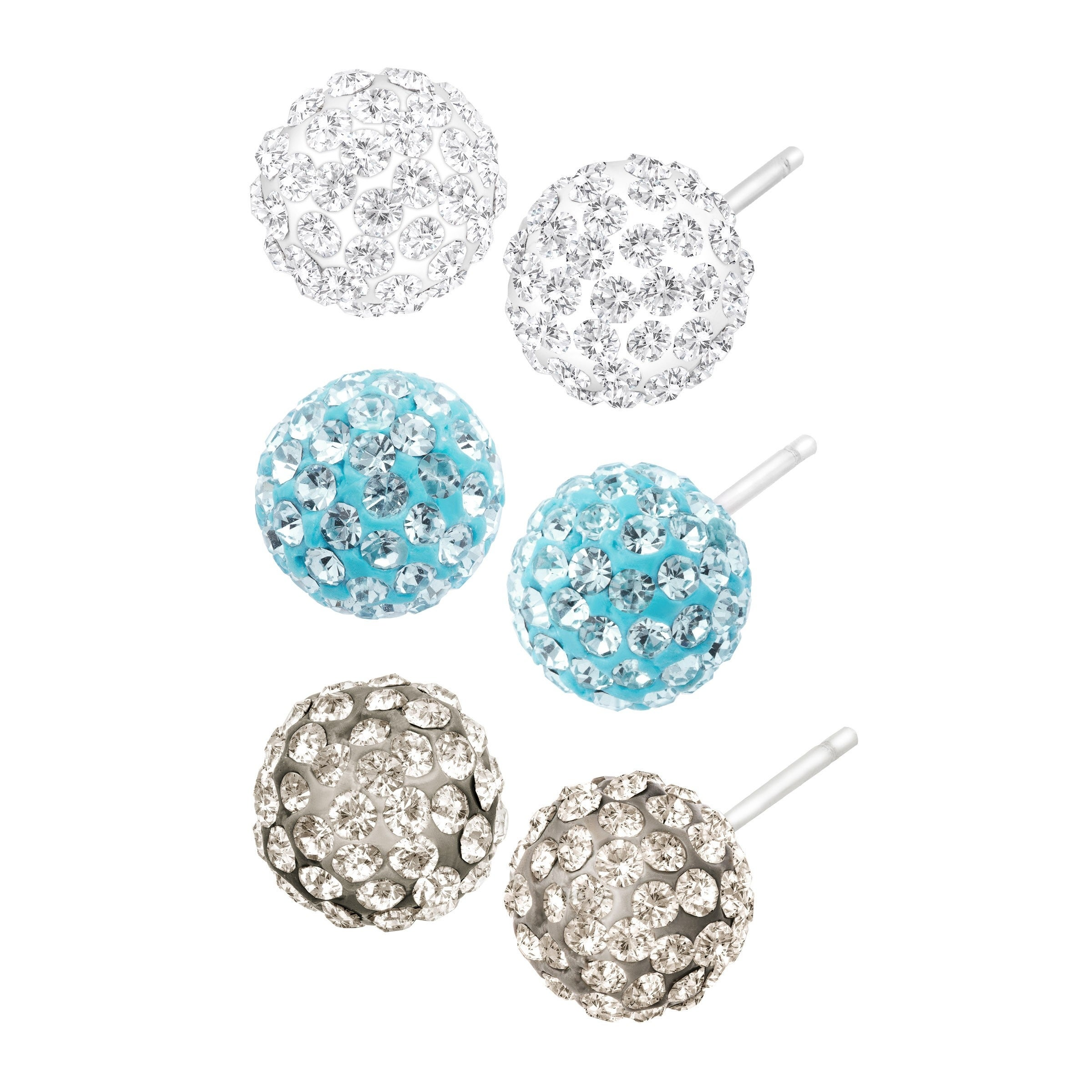 Crystaluxe Set Of 3 Ball Stud Earrings With Swarovski Crystals In Sterling Silver Blue On Free Shipping Orders Over 45