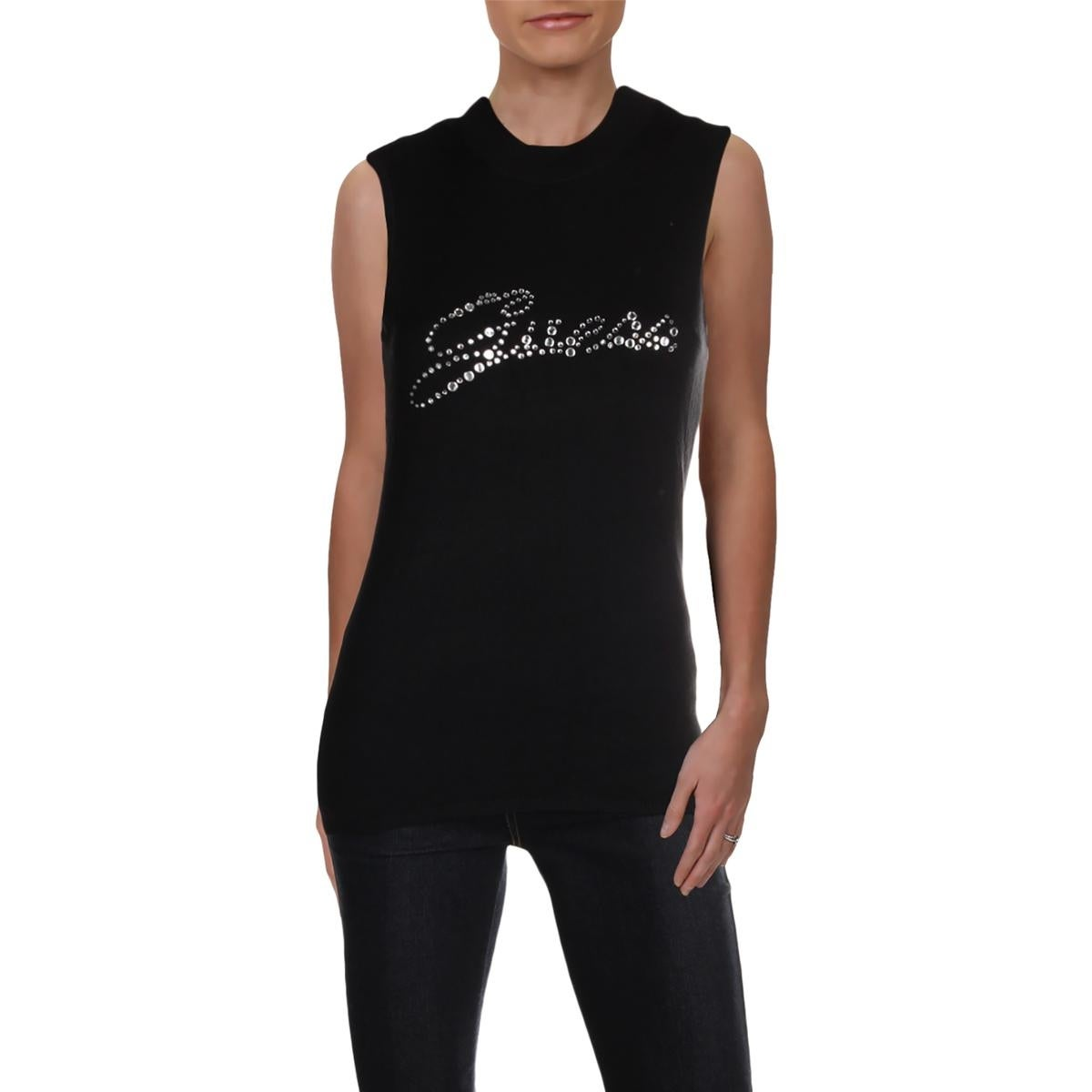 87a94a794ea22 Shop Guess Womens Holly Tank Top Sweater Embellished Mock Neck - Free  Shipping On Orders Over  45 - Overstock - 25627367