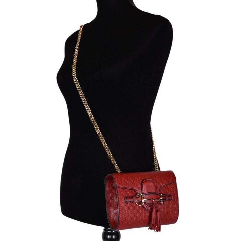 308457cb0ae4 Shop Gucci 449636 Red Micro GG Guccissima Leather MINI Emily Crossbody Purse  - Free Shipping Today - Overstock - 20919619
