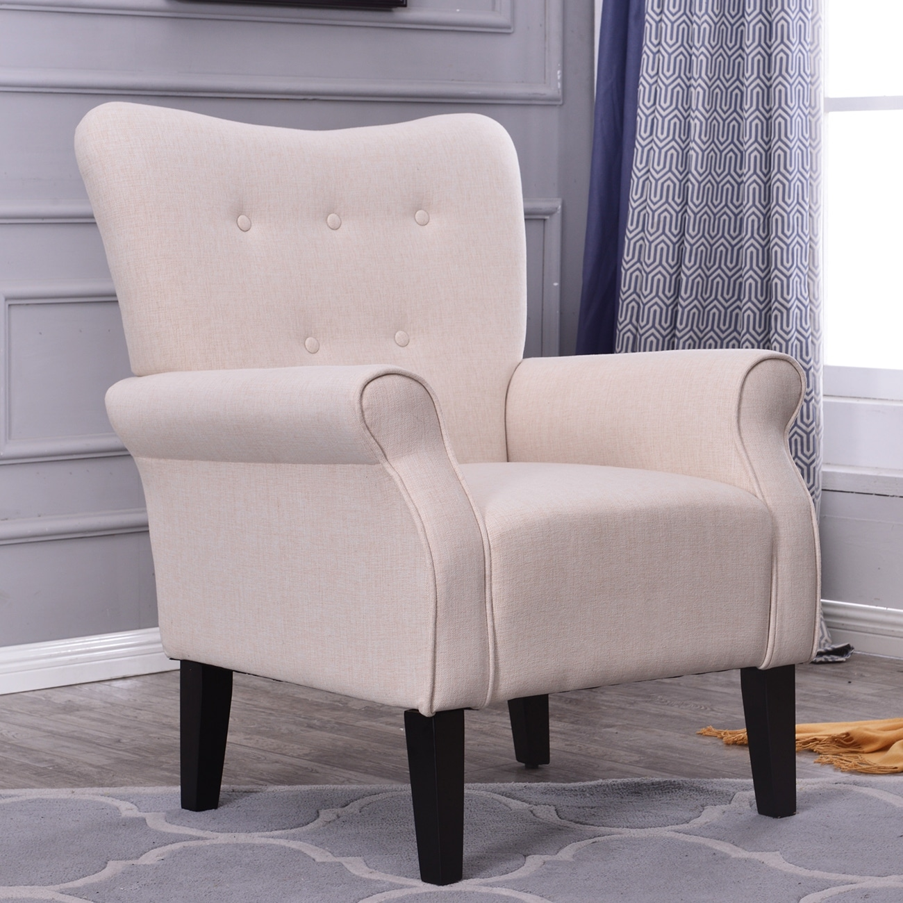 Shop belleze modern wingback accent chair armrest linen with high backrest beige free shipping today overstock com 17833255