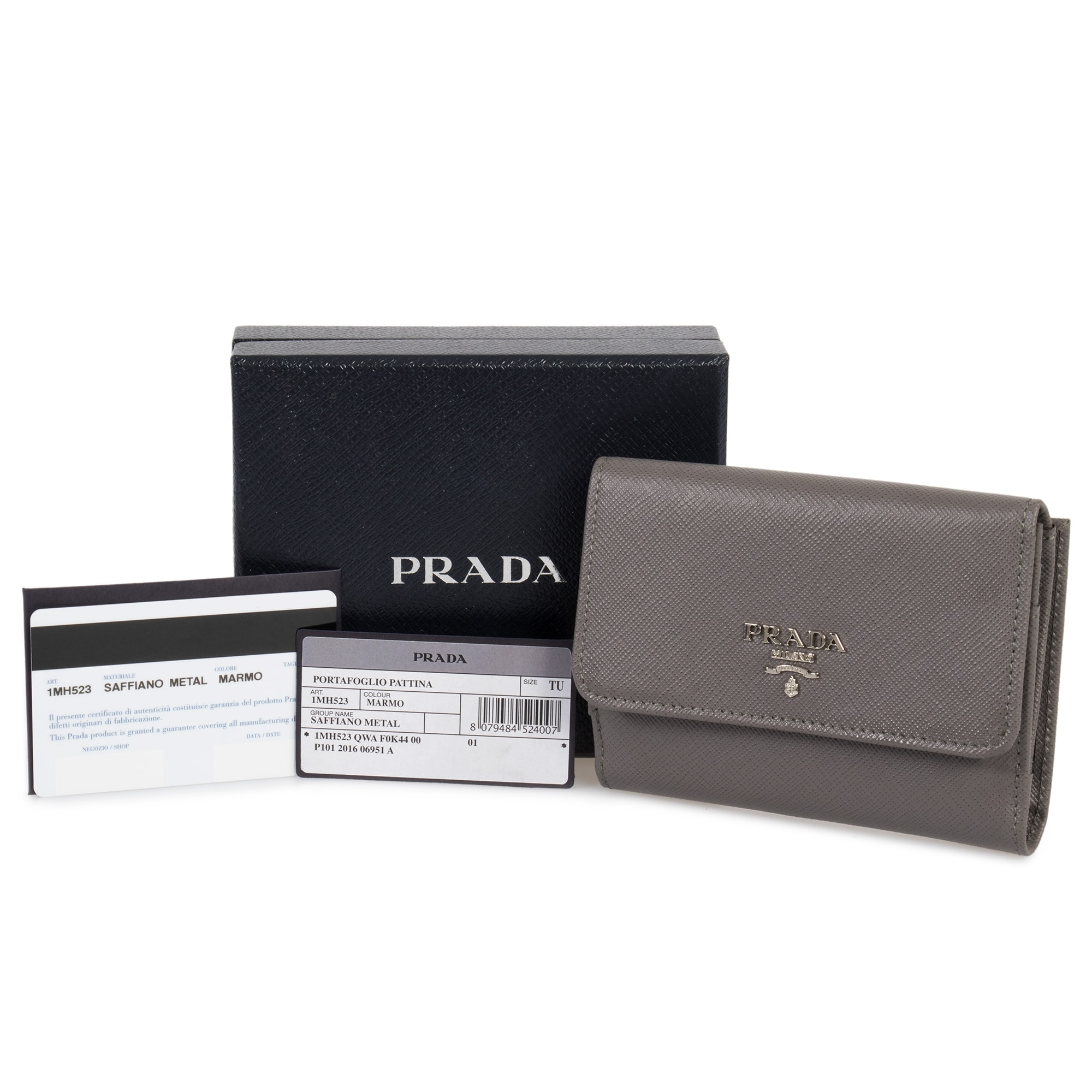 c9b96bab9ca9 Shop Prada Marble Saffiano Leather Flap Wallet 1MH523 QWA F0K44 - Free  Shipping Today - Overstock - 23076853