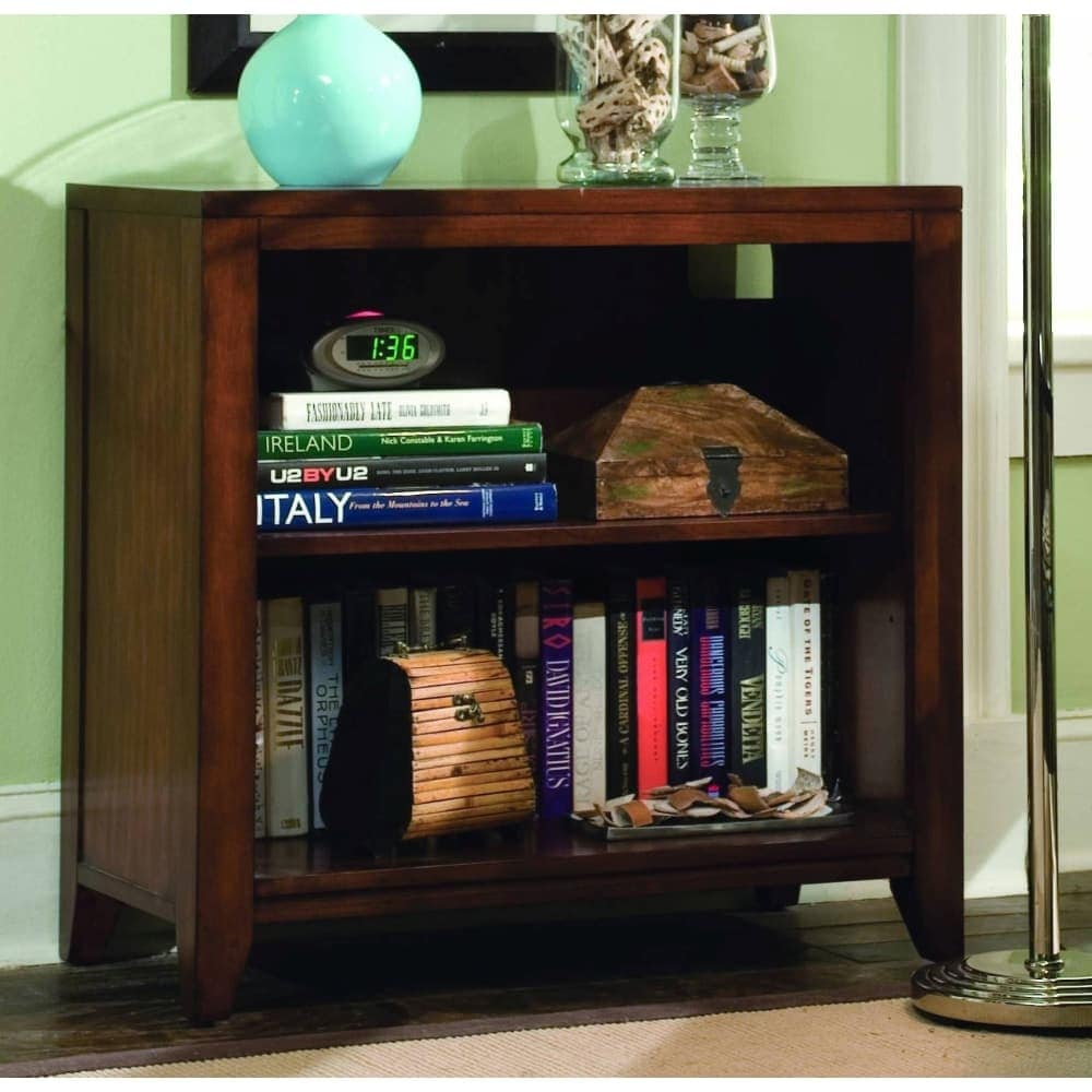 Shop hooker furniture 388 10 420 32 wide birch wood shelving unit from the danforth collection rich medium brown free shipping today overstock com