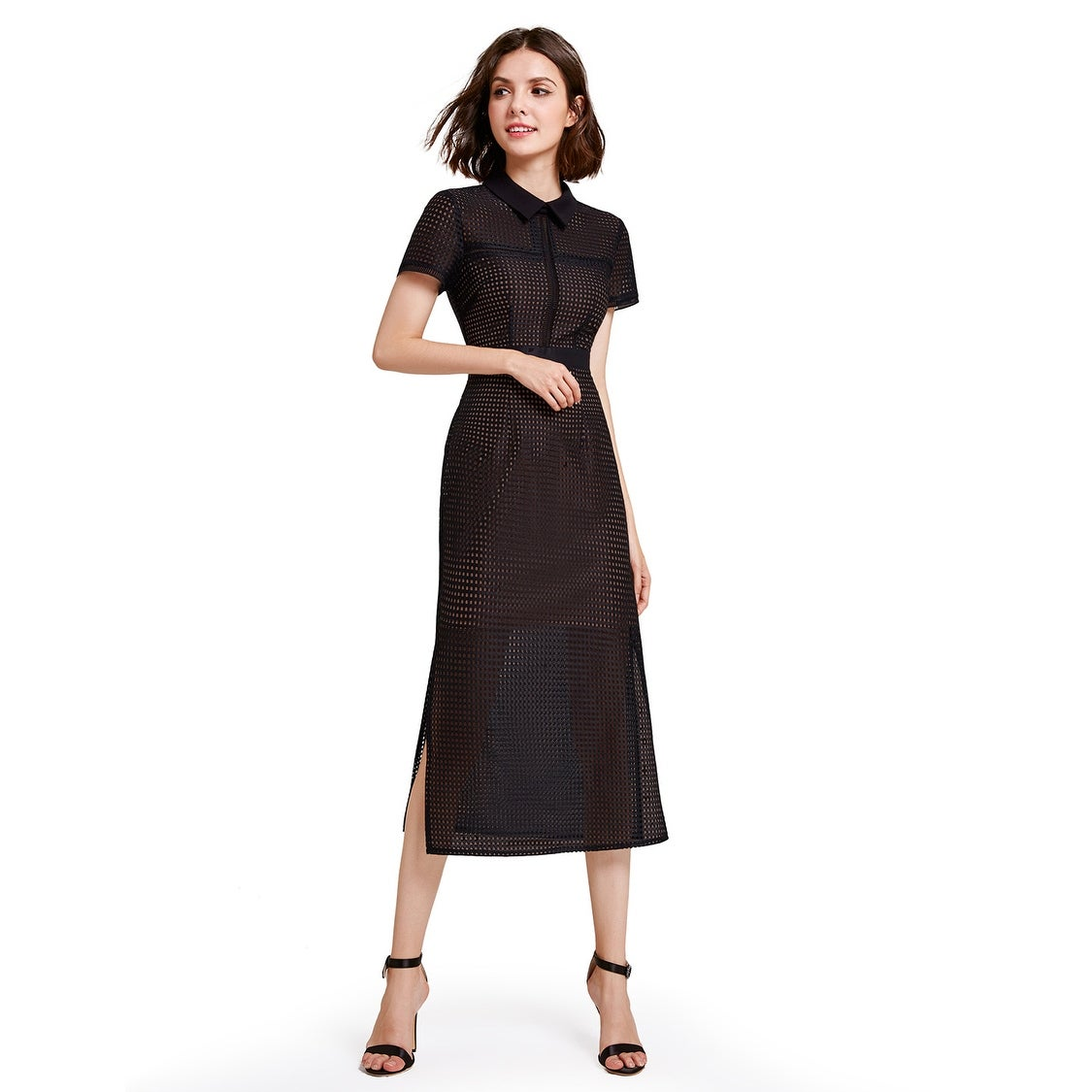 f6101c0916e Shop Alisapan Womens Tea Length Business Casual Dress 07169 - Black ...