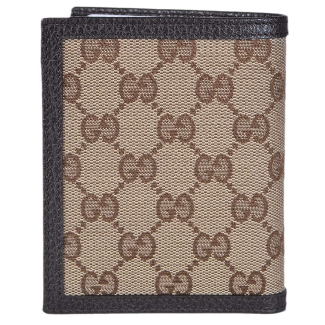7b2d1eef520c Gucci 292533 Men's Beige Canvas GG Guccissima Vertical Bifold Wallet -  Brown - 3 7/8