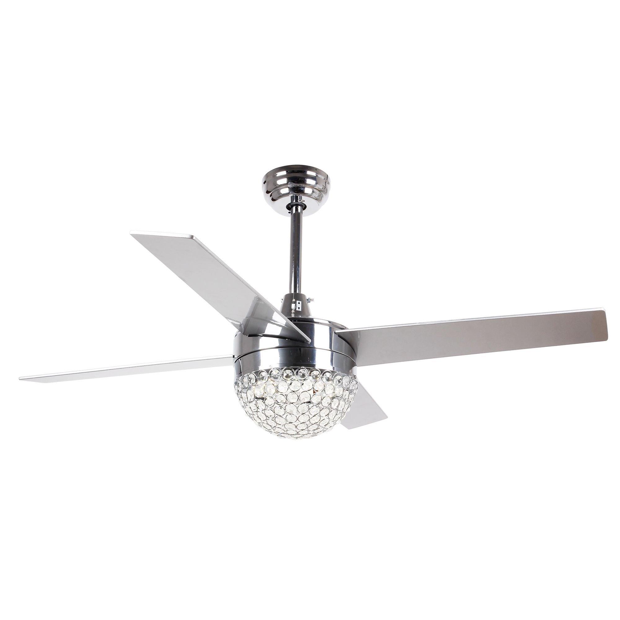 Shop 42-inch Dimmable Light Crystal Fandelier Chrome Ceiling Fan ...