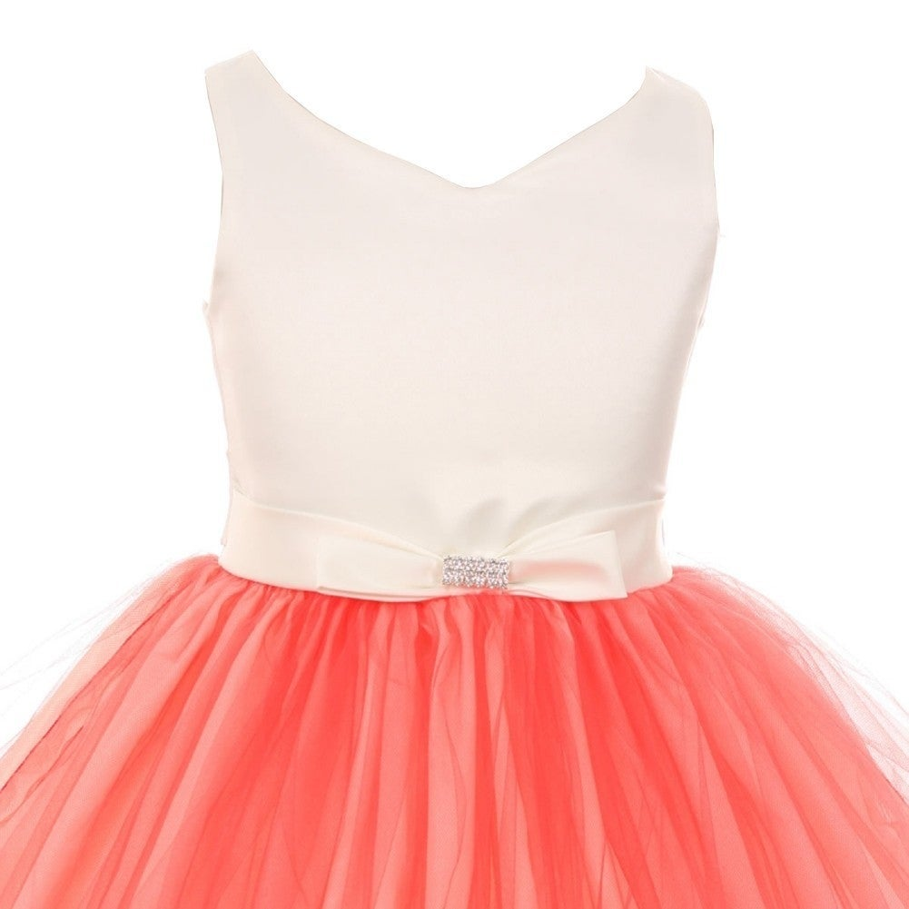 Shop Little Girls Coral V-neck Satin Bow 3 Layer Tulle Flower Girl ...