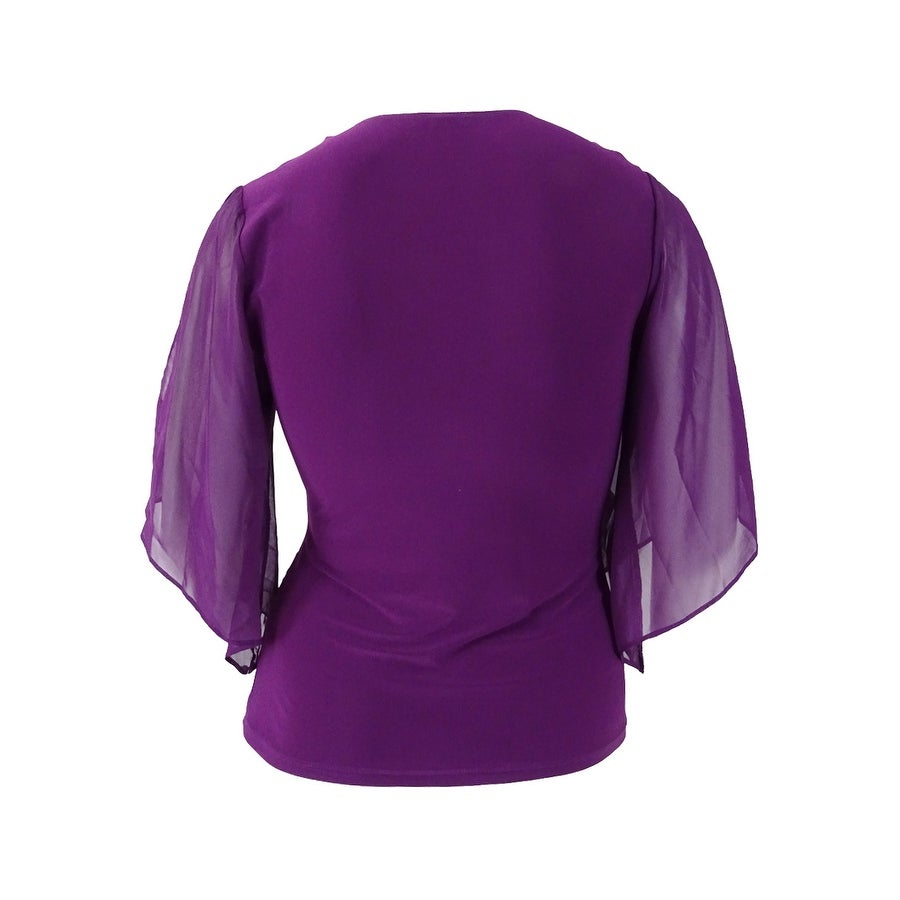 e2cdc42b59794e Shop MSK Women's Embellished Flutter-Sleeve Faux-Wrap Top - On Sale - Free  Shipping On Orders Over $45 - Overstock - 18302458