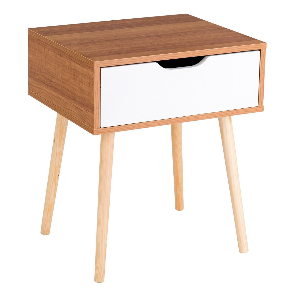 Shop Costway Nightstand End Side Sofa Table Storage Drawer Living ...