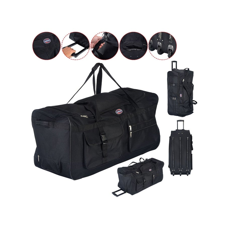 62b57c9f41ca Costway 36   Rolling Wheeled Tote Duffle Bag Luggage Travel Duffle Suitcase  Black