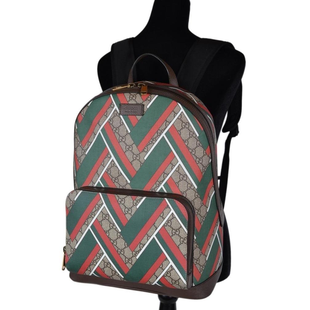 ecaddafd967a Shop Gucci 406370 GG Supreme Red Green Chevron Print Backpack Rucksack Bag  - Multi - 12.5