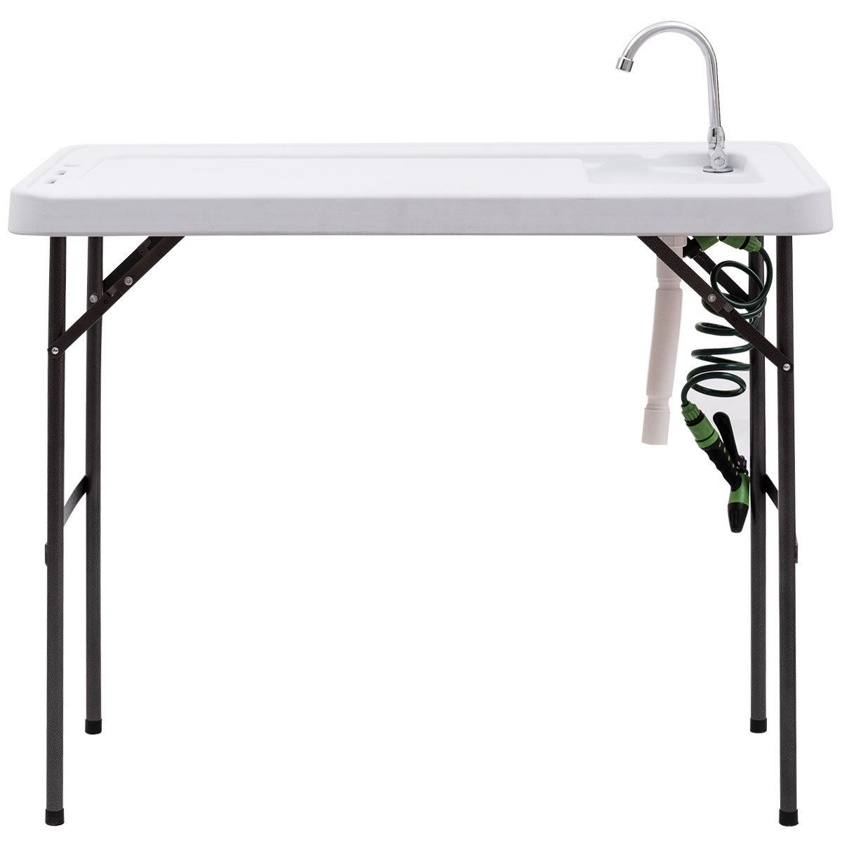 Costway Folding Fish Table Hunting Cleaning Cutting Camping Sink ...