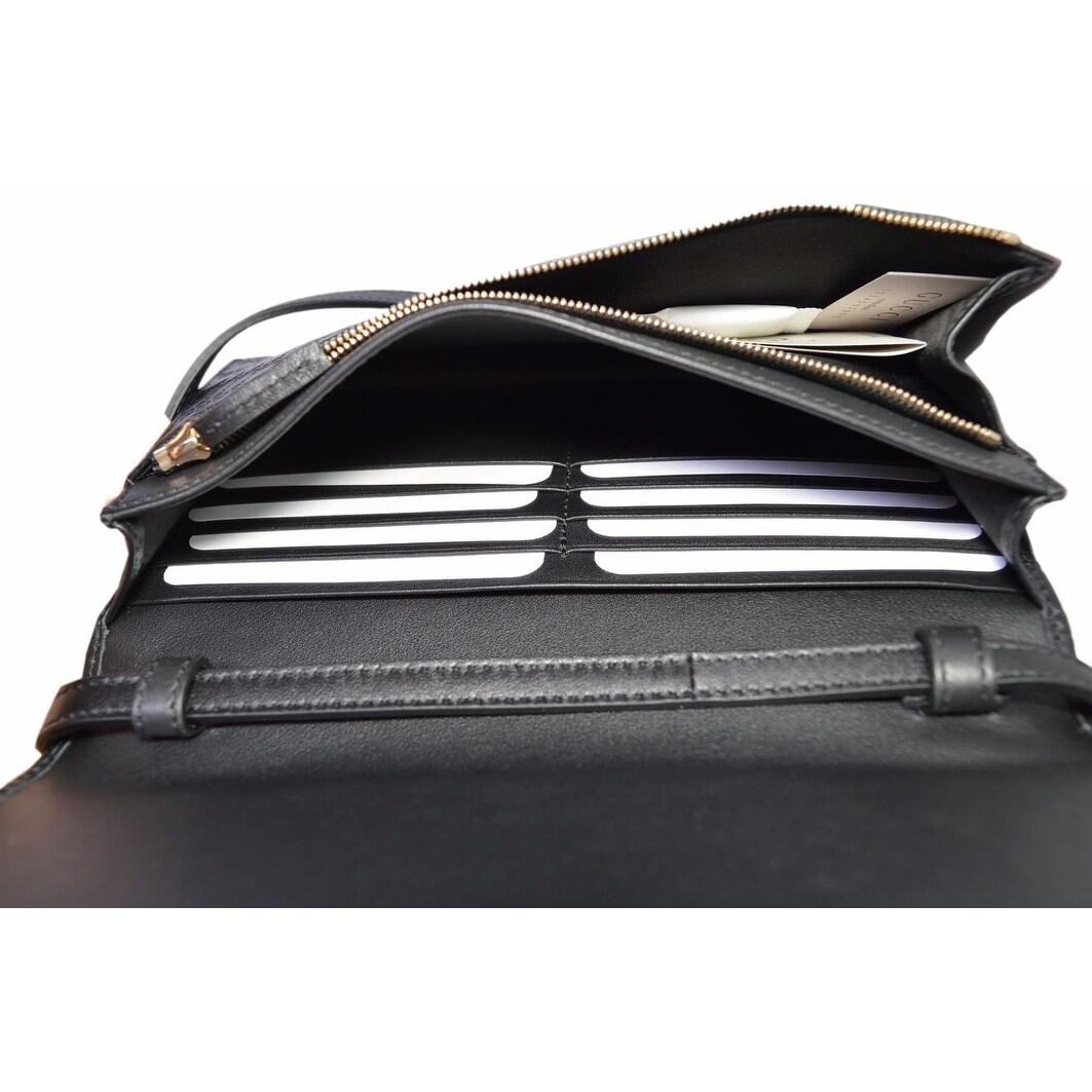 b41474c59af09 Shop Gucci 466507 Black Leather Micro GG Guccissima Crossbody Wallet Bag  Purse - 8