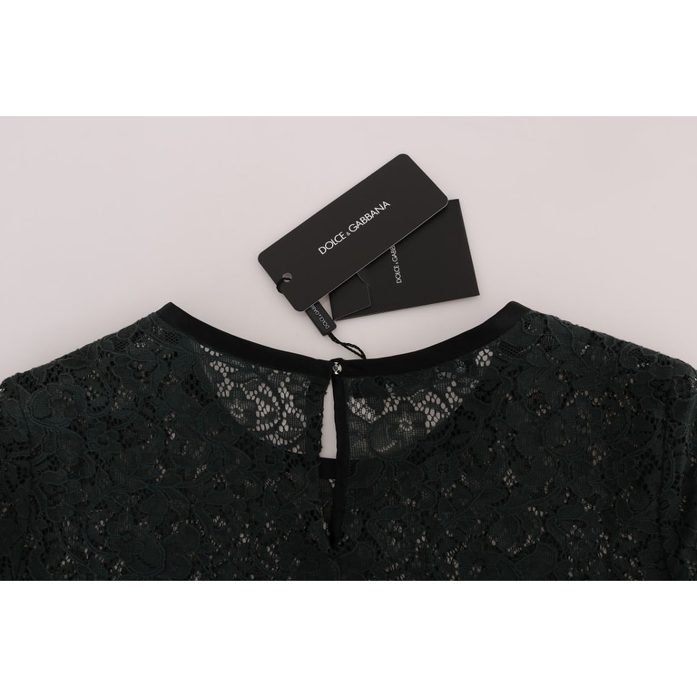 6d3c35cb2da20 Shop Dolce   Gabbana Green Floral Lace Blouse Top T-Shirt - it46-xl - Free  Shipping Today - Overstock - 25438033