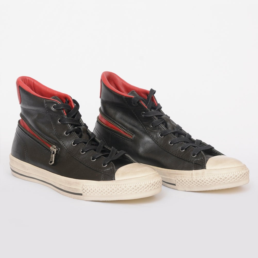 e0e9d3496803 Shop John Varvatos Converse Chuck Taylor All Star Black Leather Zip High  Top Sneakers - Free Shipping Today - Overstock - 22704656