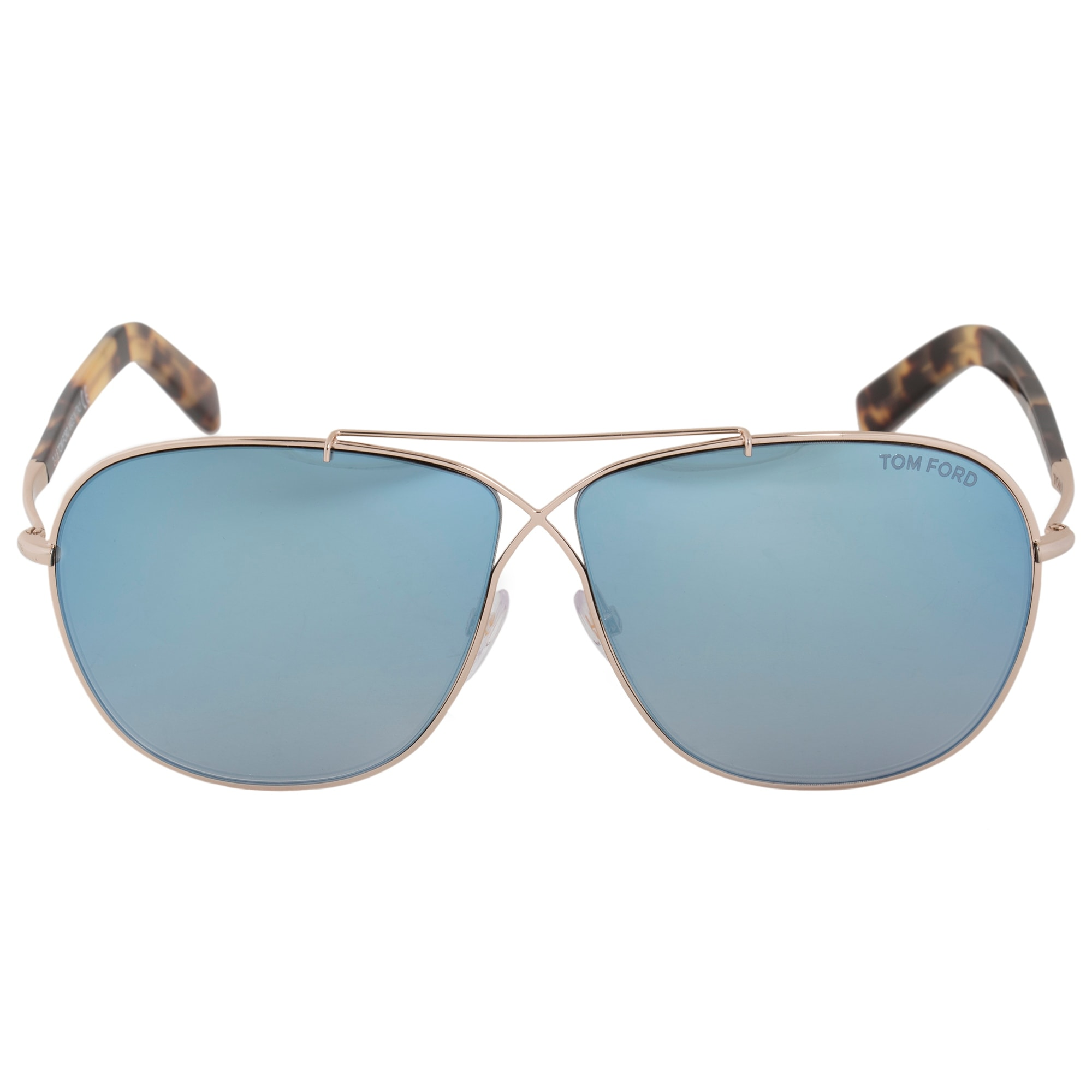 8c4c5a463ede Tom Ford April Pilot Sunglasses FT0393 28X 61 | Gold Frame | Blue Gradient  Mirror Lenses