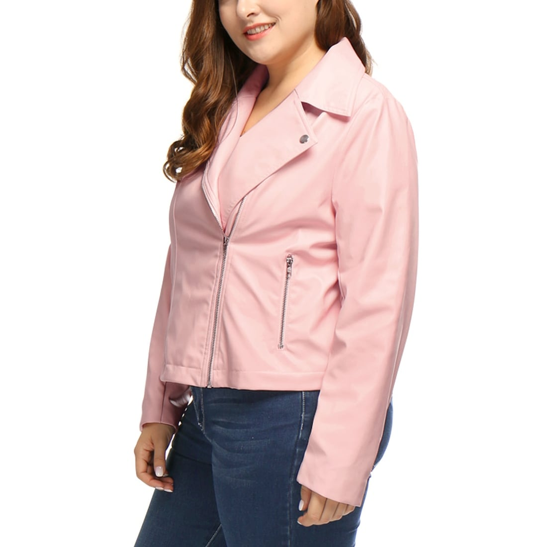 80bf8a1c04e Shop Allegra K Women s Plus Size Asymmetrical Zip Closed Front PU Leather  Moto Jacket - Pink - On Sale - Free Shipping Today - Overstock - 20834714