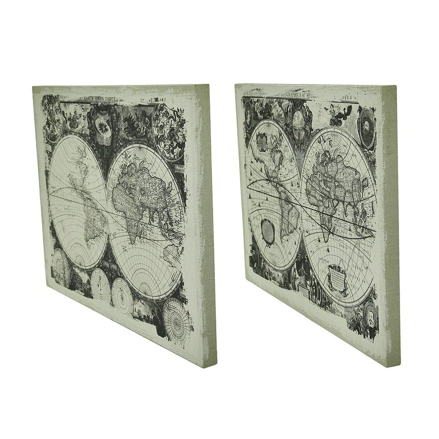 Old World Map Canvas.Shop 2 Piece Faux Antique Finish Vintage Old World Map Canvas Wall