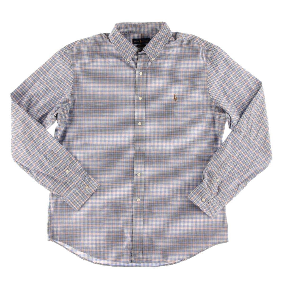 Shop Ralph Lauren Mens Button Down Shirt Plaid Monogrammed Free