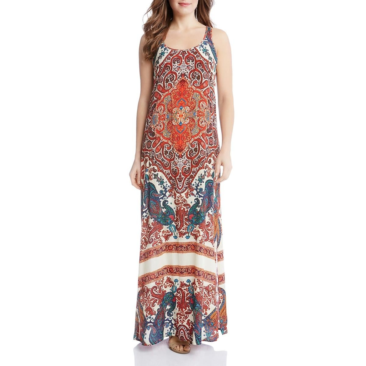 cb7bfb30c22 Shop Karen Kane Womens Maxi Dress Printed Side Slit - On Sale - Free  Shipping Today - Overstock - 23528002